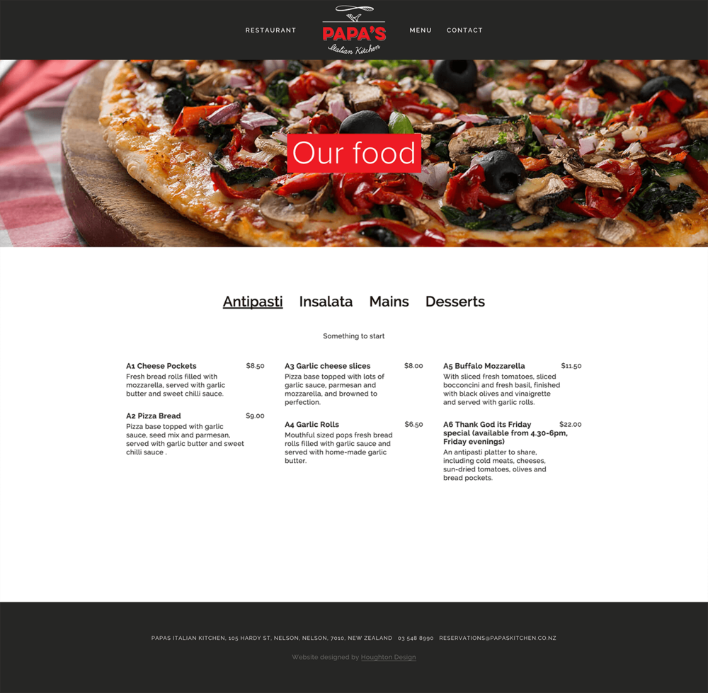 Menu page on Squarespace website for Papas Italian Kitchen - www.papaskitchen.co.nz