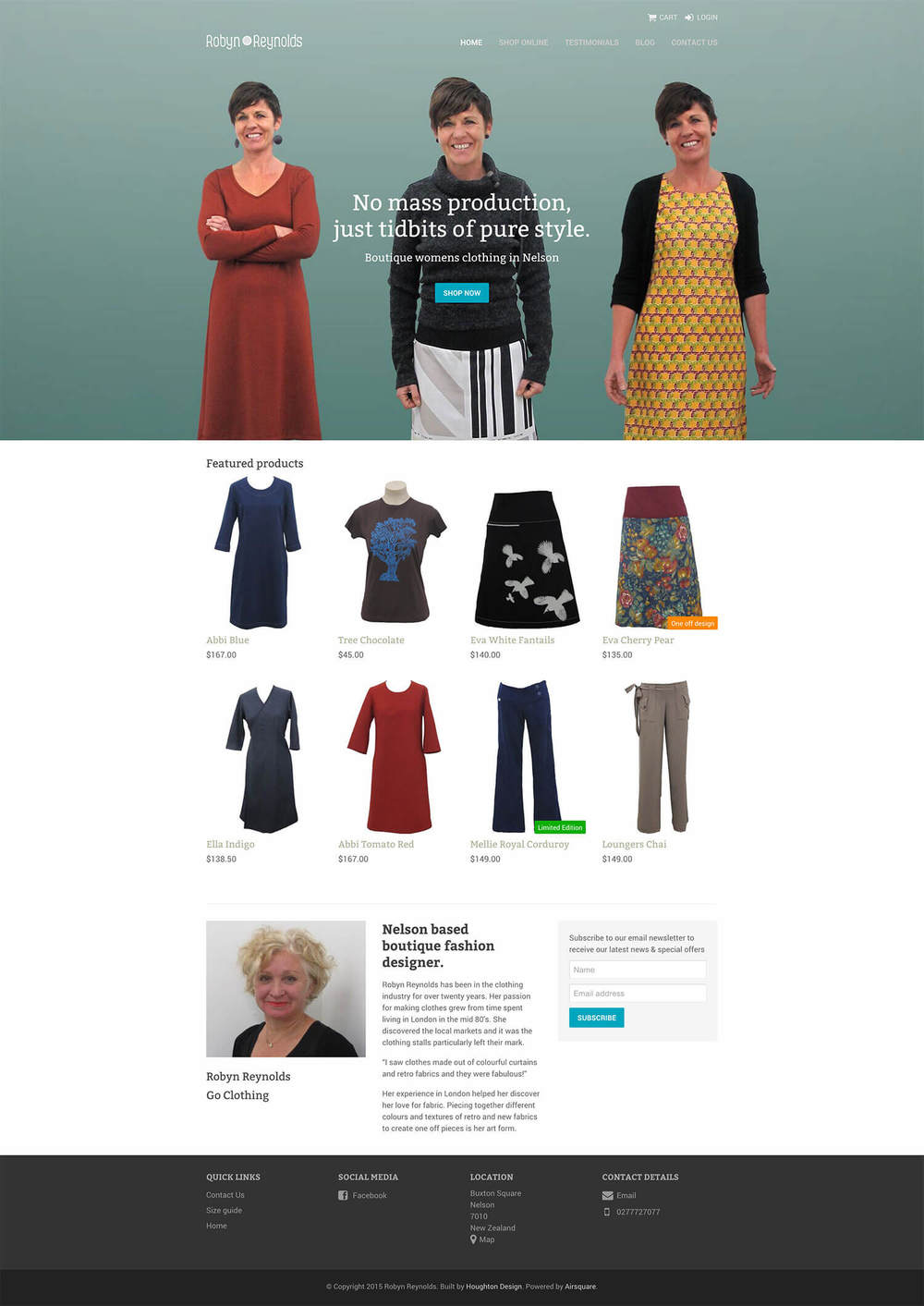 Airsquare website for boutique clothing store, Robyn Reynolds - www.robynreynolds.co.nz