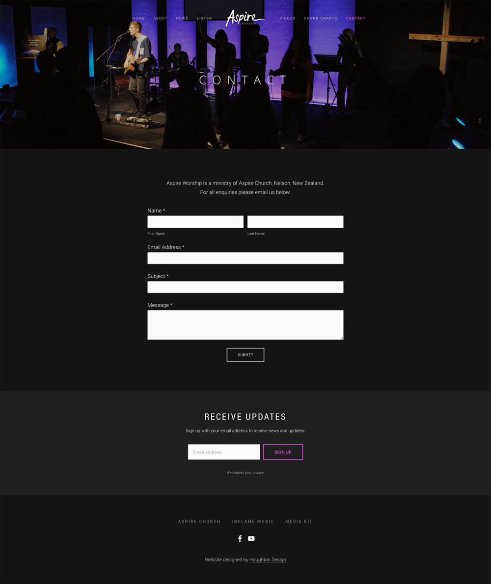 Aspire Worship - Contact page