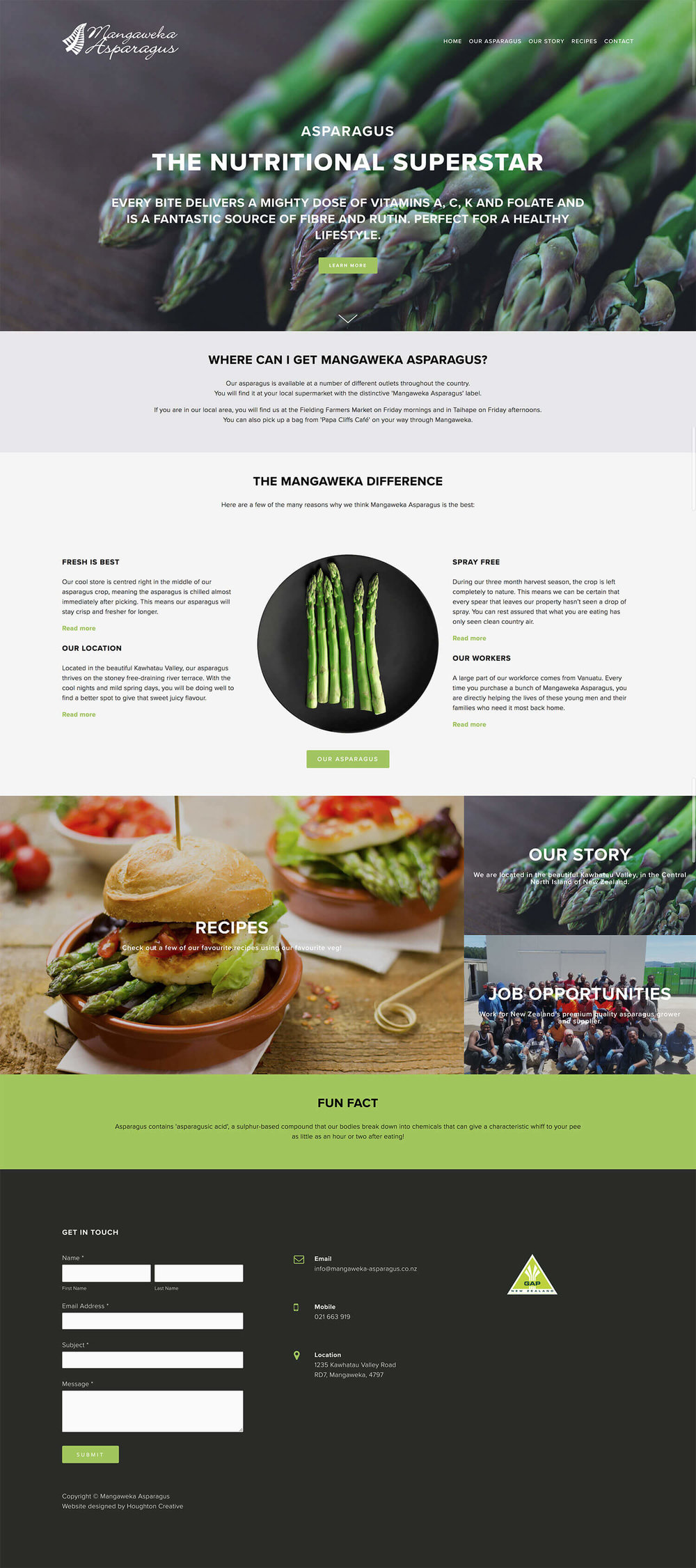 Mangaweka Asparagus website home page