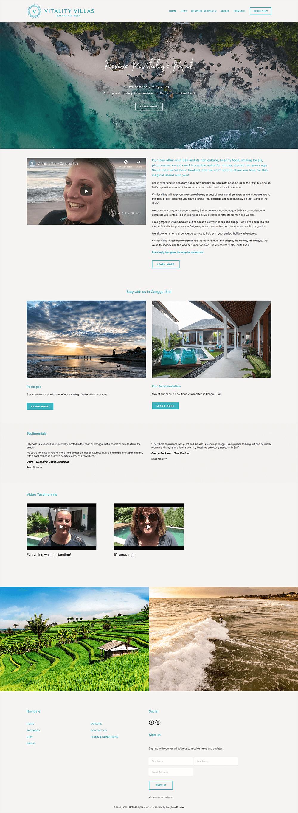 Vitality Villas - Website Home page