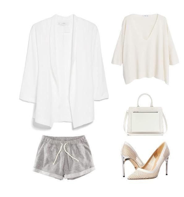 1. This is the perfect weekend casual look its simple and easy to create. All you need is a loose fitted white top, grey jersey fabric loose fitted shorts and a white blazer to even everything out. Add a fabulous white bag and your outfit is complete!