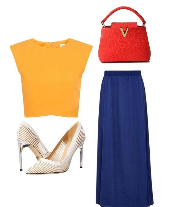 2.This is my favorite look the colors are very easy on the eye and they compliment each other. A huge mistake that women can make is bringing the wrong colors together. This look consist of a soft yellow crop top, a blue long maxi skirt, and a cute mini bright red modern bag. Together these pieces create a beautiful european inspired look;)