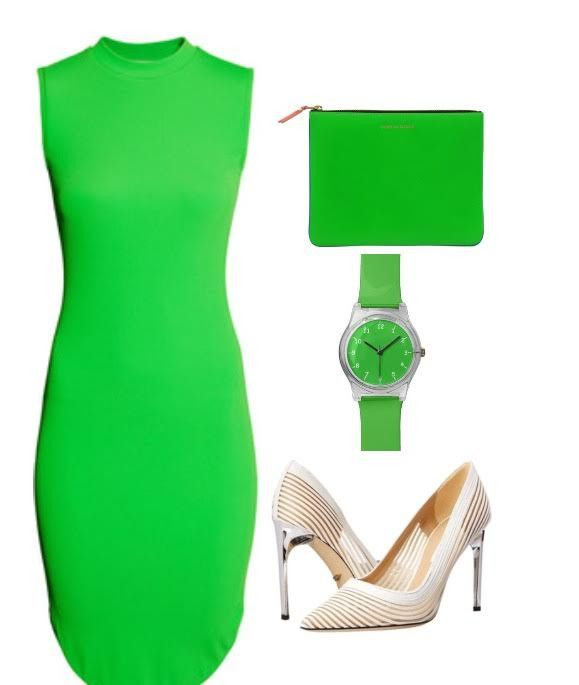 3. Dare to add some color? I mean a very bright color, lime green to be exact. Here is a perfect example of adding color and making a statement in a very bold and modern way.This look consist of a bodycon sleeveless lime green dress, lime green watch, and a lime green envelope bag. No this isn't too much but you must feel confident when wearing this outfit if not you wont be able to pull it off.