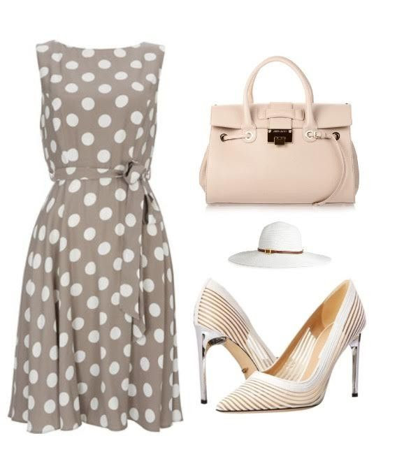 4. This is the perfect classic look. This look consist of a taupe polka dot shift dress, wide brim white hat and a pink tote bag. This look has a hint of vintage yet modern feel its really flattering for all body types.