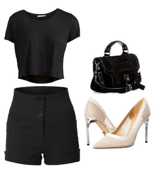 5. This is what we call the black out look. This look consist of black loose fitted crop top, black high wasted shorts, and a black patent leather bag. This is the perfect way to wear black, look relaxed and stand out!
