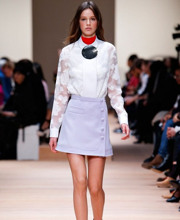 1. The A- line mini skirt as seen at the Carven Fall 2015 fashion show, is a must have this season.This skirt is a perfect option for petite girls, pair with opaque tights and you're all set!