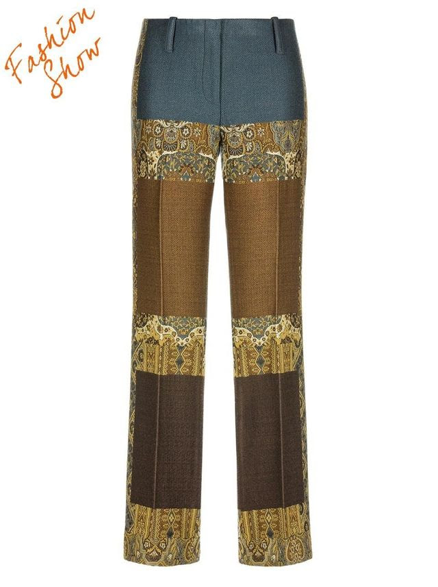2. The statement trousers better known as the bold trousers are hot this season. These pants come in so many different looks from gloss leather to folk print the options are endless, as shown below a pair of trousers from Etro.com. Pair these trousers with a cute fitted sweater, or a fashionable blouse for a fun and polished look. If you've got legs for days this trend is perfect for you to own!