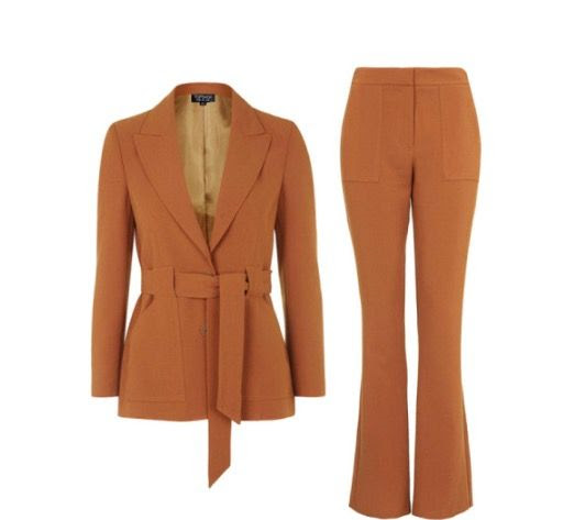 3. The belted waist look is back this season. The best way to pull this look off would be with a thigh length vest or blazer and 70's style wide leg trouser, similar to the one shown below from Topshop.com. This trend is perfect if you have a curvy hourglass figure the silhouette will balance your beautiful curves!