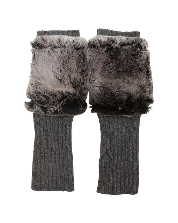 Carolina Amato Fingerless Knit/Rex Rabbit Fur Gloves