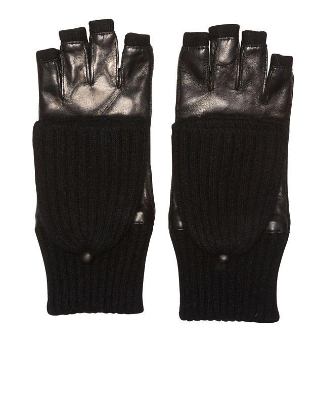 Carolina Amato Pop Top Fingerless Gloves: Black