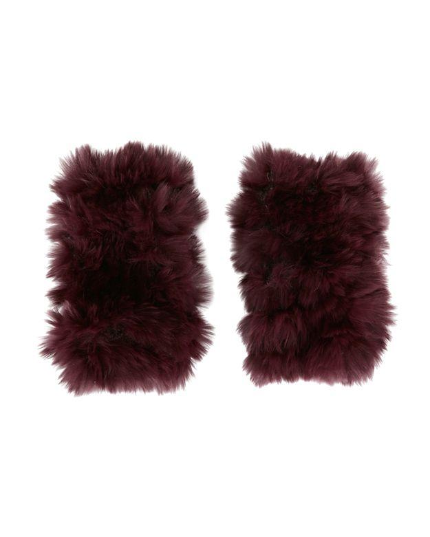 Jocelyn Rex Rabbit Fur Fingerless Mittens: Burgundy