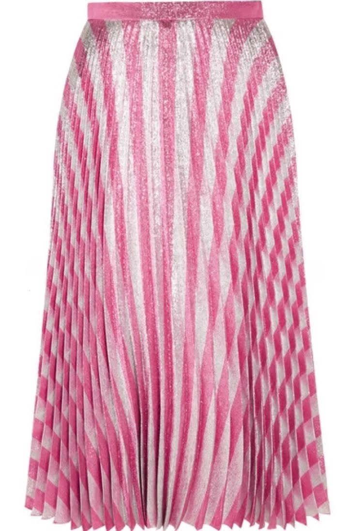 Pleated metallic striped stretch-silk midi skirt