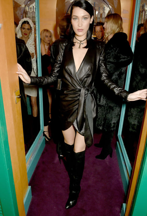 Bella Hadid Wearing Misha Couture, is giving us Gothic covergirl.