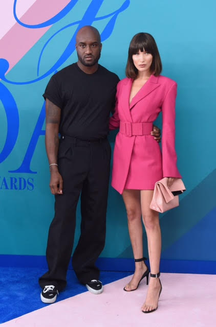 Virgil Abloh and Bella Hadid wearing Off-White.