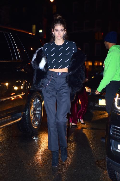 Kaia Gerber wearing Supreme
