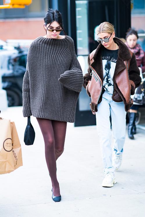Kendall Jenner wearing Eudon Choi Zuzu with Hailey Baldwin