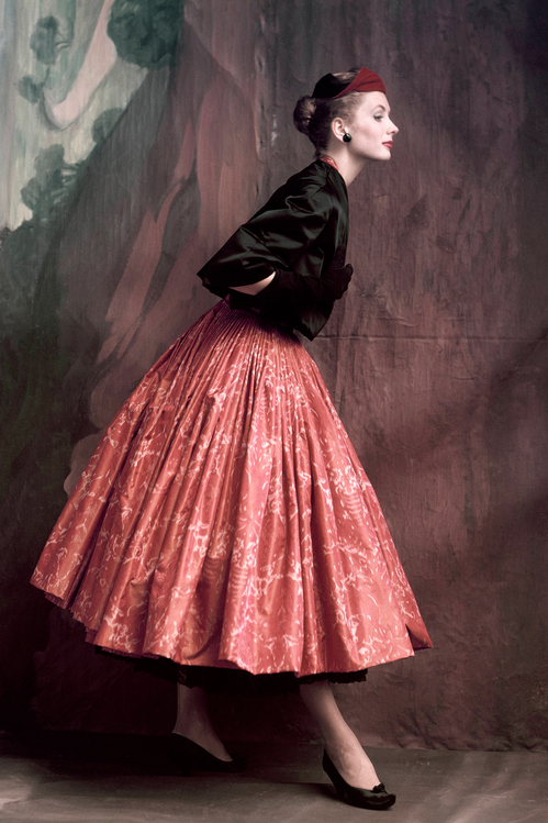 A model wearing Givenchy in  Vogue , October 1953