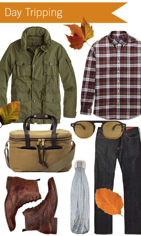 Clockwise from top left: J.Crew Field Mechanic Jacket, Polo Ralph Lauren Shirt, Garrett Leight Harding Matte Dark Caramel Aviator Sunglasses, Jean Shop Slim-Fit Raw Selvedge Jeans, S'well Insulated Bottle in Birchwood, H by Hudson Angus Tan Washed Lace Up Boots, Filson Soft-Sided Cooler
