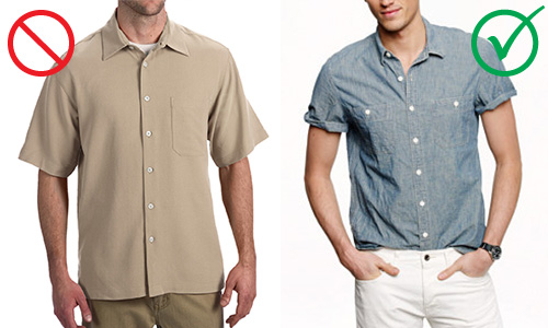 How to wear short sleeve button up shirts veritas men 39 s for How to roll up sleeves on women s dress shirt