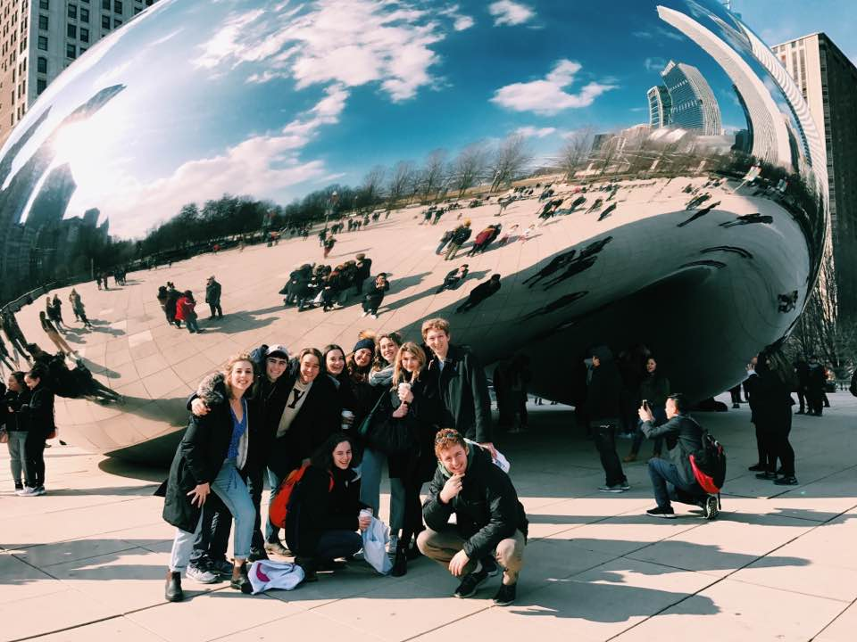 JAW reflecting in front of Chicago's bean, in 2018.
