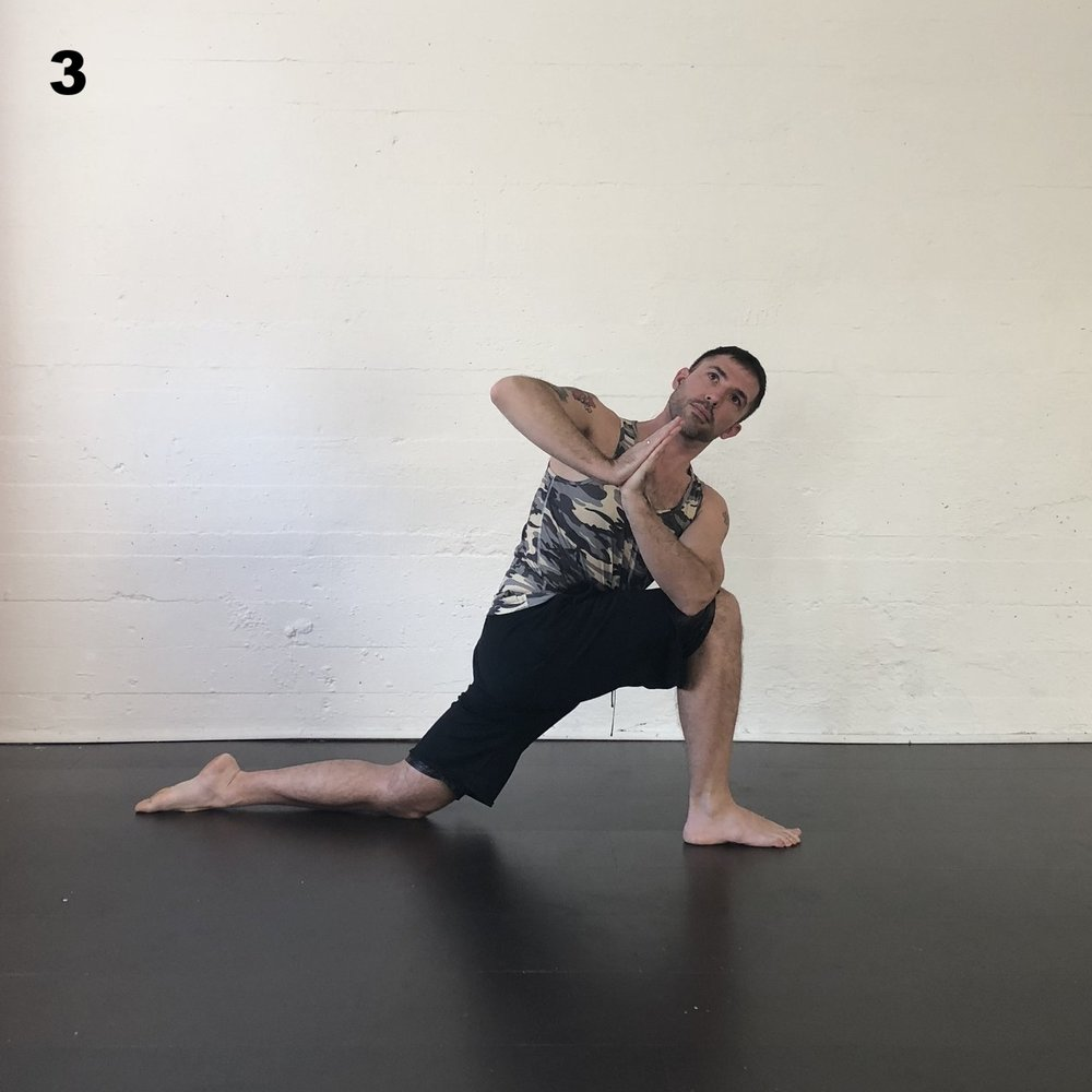 Twisted Lunge  - From Down Dog, step your right foot toward the from of the mat and place the left knee on the floor.  Raise your chest to vertical and connect your hands in prayer.  Turn the torso to the right and place the left elbow outside of the right knee.  Feel the spiraling of the chest, and the way the breath moves in the ribs.  How does it feel to breath with the restriction of the twist. Return to Down Dog