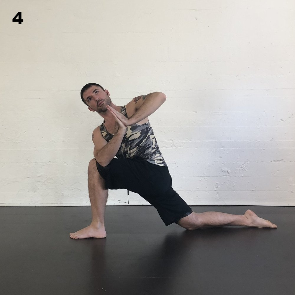 Twisted Lunge -  From Down Dog  step the left foot forward and twist toward the left. Follow the instructions for the right side.