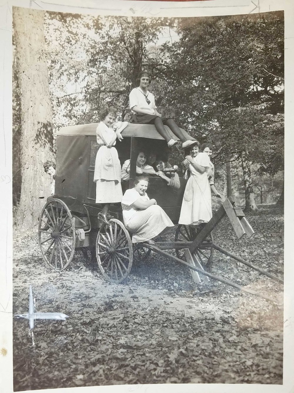 "Women at Briarcliff, captioned ""My Kingdom for a Horse."" Photo courtesy of Wright State University Special Collections and Archives."