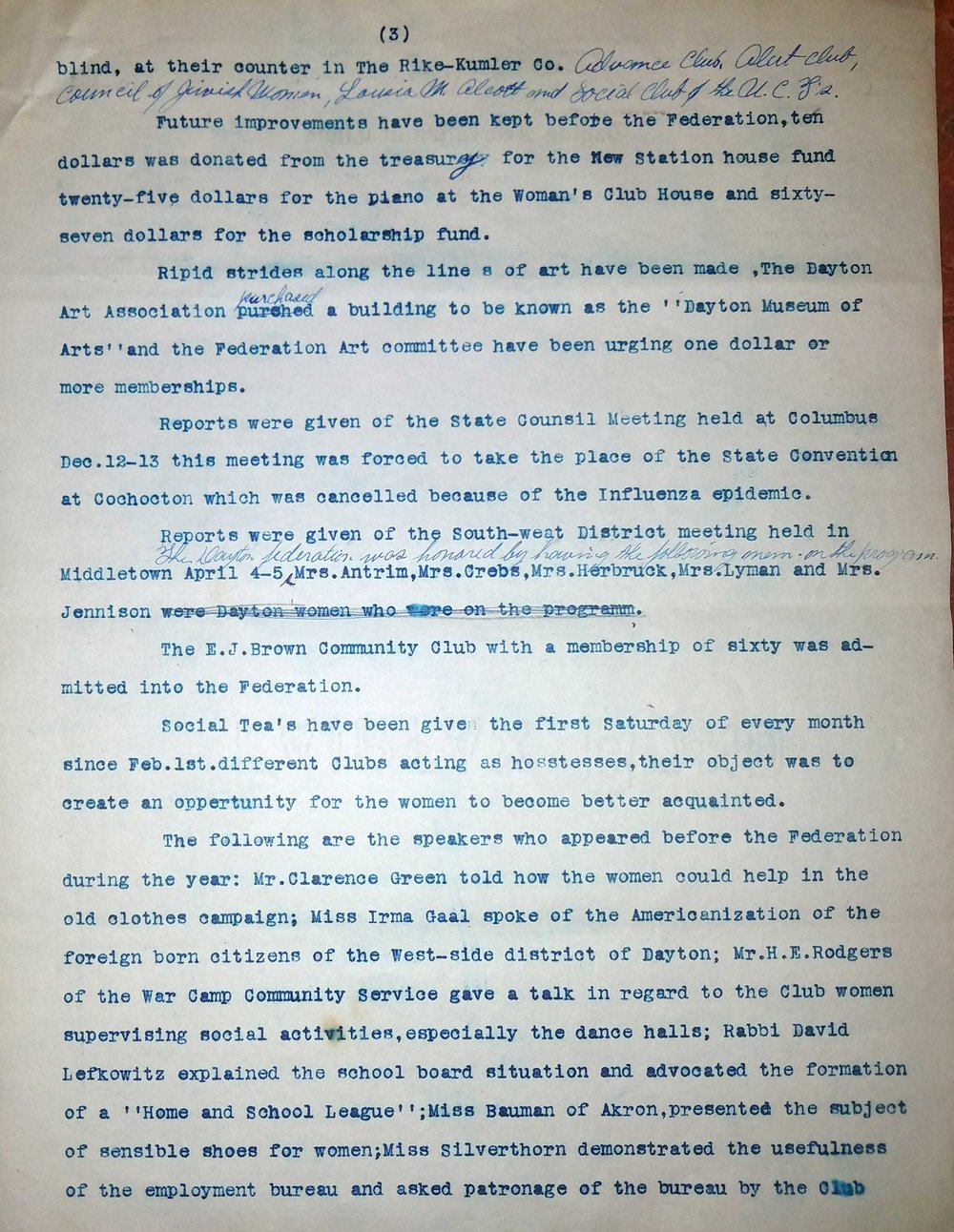 Page 3 of the Dayton Federation of Women's Clubs Annual Report, 1918-1919. Image courtesy of the Wright State University Special Collections and Archives.