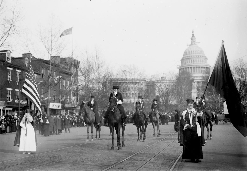 The head of the Suffrage Parade in Washington, 1913 (via Library of Congress)
