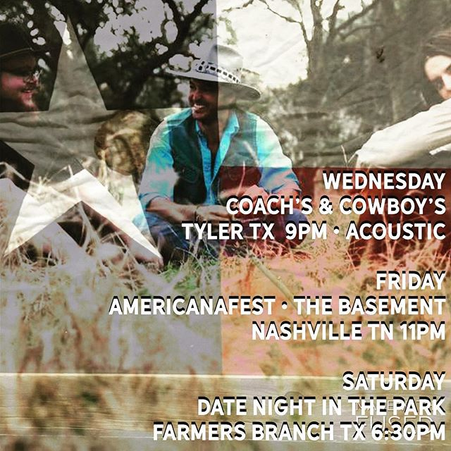 this week roll w/ us to Coach's & Cowboys @radiotexaslive @buddylogan Tyler #Texas • @americanafest #Nashville • #DateNight in Farmers Branch  #TexasMusic . . . . . . . . . . #americanafest #newmusic #statesbororevue #honkytonk