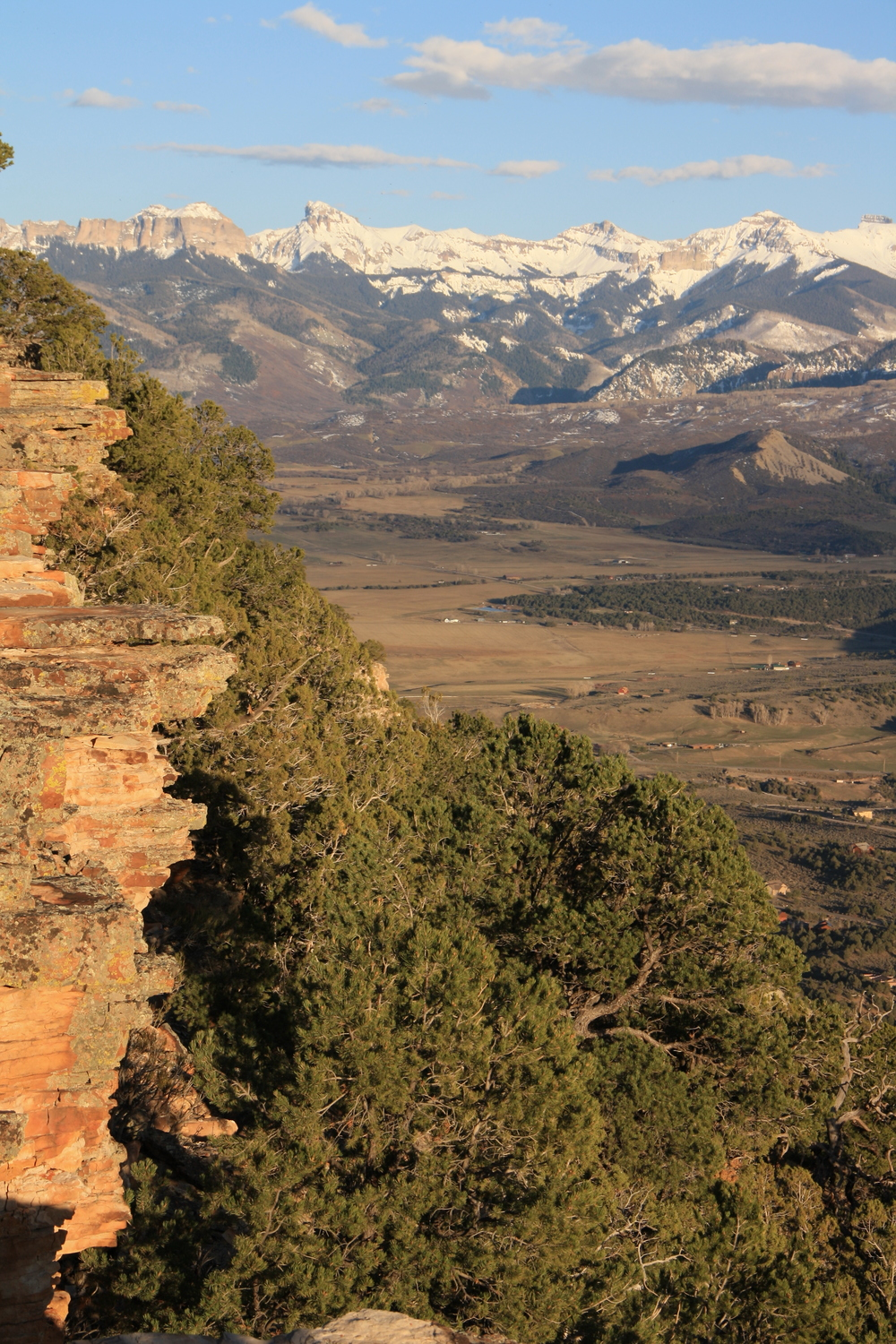 Late afternoon light on the Log Hill Mesa escarpment, overlooking the Uncompahgre Valley and the Cimarrons. An easy walk from Jim and Linda's place to here.