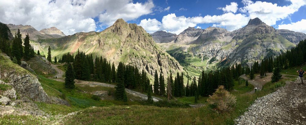 Exploring one of the many alpine basins above Ouray.  Another benefit of low snowpack (hey, you gotta look for silver linings.): More weeks of access to the alpine country! In the heavy snowpack year of 2017, the time to hike up there felt ridiculously short.