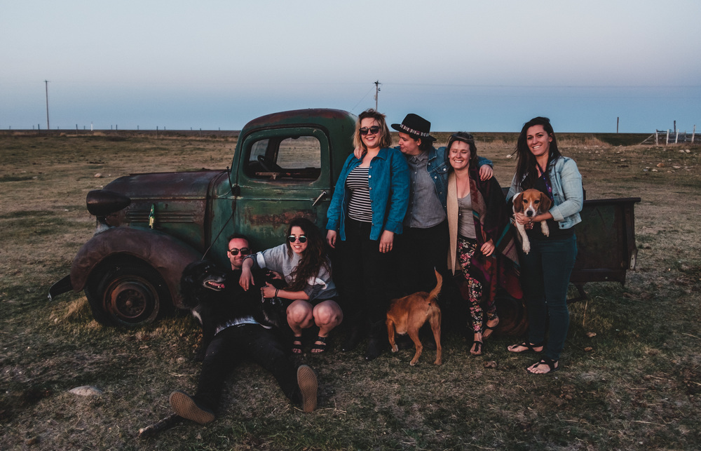 Left to right: Sean covered by Gus, Sarah, Jessica, Zoey's bum, Kayla, Tucker and Kaitlyn Photo credit: Sebastian Buzzalino of Unfolding Creative Photography