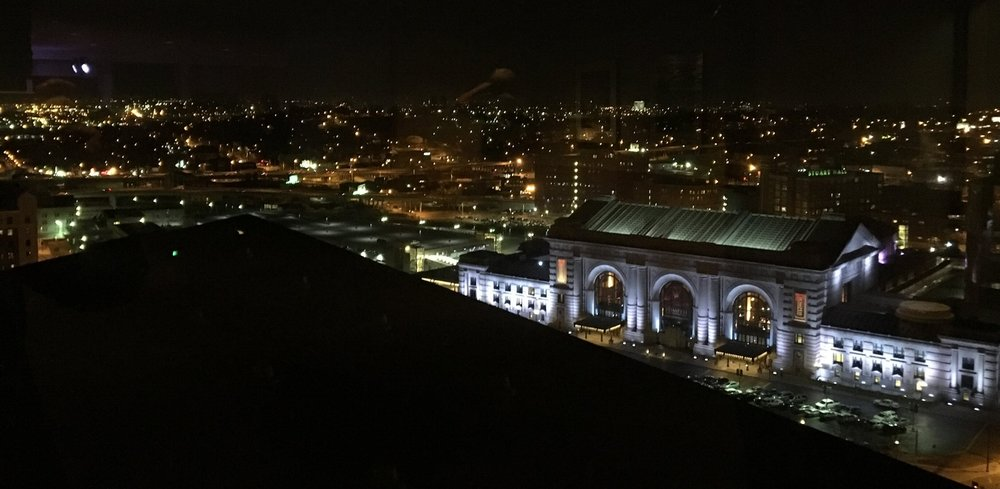 The view from Benton's private suite. Beautiful showcase room, 360 view of Kansas City downtown. That's Union Station all lit up in blue.