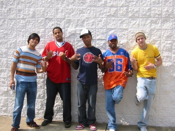 From L-R: Chad Hugo, Ivan Barias, Pharrell Williams, Carvin Haggins, Justin Timberlake