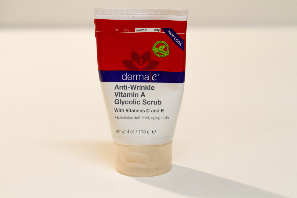 Derma e Anti-wrinkle Vitamin A Glycolic Scrub ($12):  I use this exfoliator 2-3 times a week after cleansing. It has glycolic which is a nonabrasive exfoliator that sloughs off dry skin, softens wrinkles and lightens hyperpigmentation.  It also contains Apricot seed powder and papaya which helps clean out pores.  The combination of all these ingredients leaves the skin glowing and radiant! I also love this line because it is a more natural line.  There products are free of parabens, sulfates, mineral oil, lanolin, gluten, gmos and cruelty!  Holy cow thats a lot of ingredients to avoid when creating a product line!