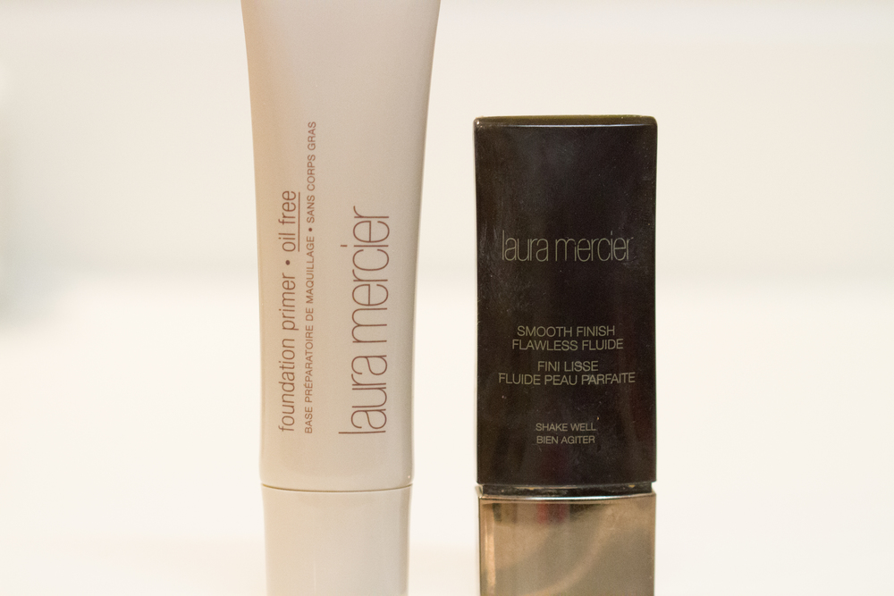 Laura Mercier Primer ($33):   I got both of these items later in the year around October and I wish I would have found them way sooner!  The primer is oil free, light weight, moisturizing and keeps my makeup in place. I think its so important for our makeup to have beneficial ingredients.  Makeup sits on our skin for 8+ hours some days so we want it to have some nourishing ingredients!  This primer contains vitamins A, C and E.  These vitamins can help protect our skin from the aging affect of the environment.   Laura Mercier Smooth Finish Flawless Fluid ($48):  This is a very thin liquid foundation.  Its oil free and light weight but its also a long wear and fuller coverage.  I have never used anything like it.  From what I've read its basically just color pigment and reflective waters, so make sure to shake it very well before using.