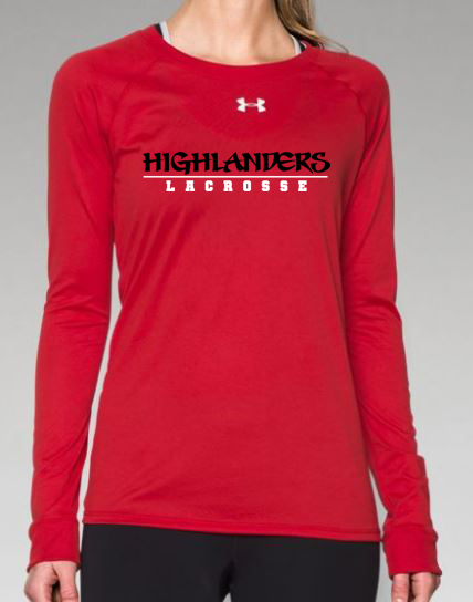 2d24a6c0cf25 Under Armour Women s Locker Long-Sleeve Tee - Red - Highlanders Logo ...