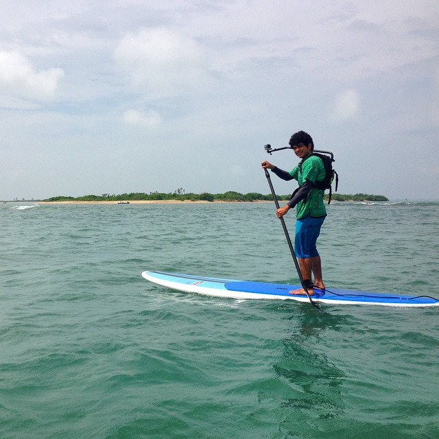 SUP trip near the Gulf of Mannar with Shingle Island in the background- Tamil Nadu