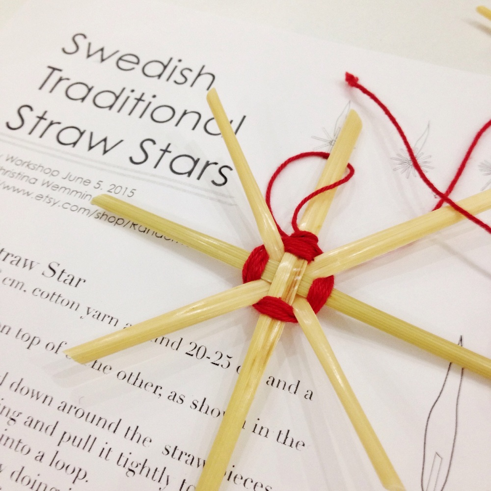 Swedish Traditional Straw Stars under guidance from Fabric lover Christina Wemming from Stockholm. They look easy to make but it was quite a challenge for butter fingers of mine!