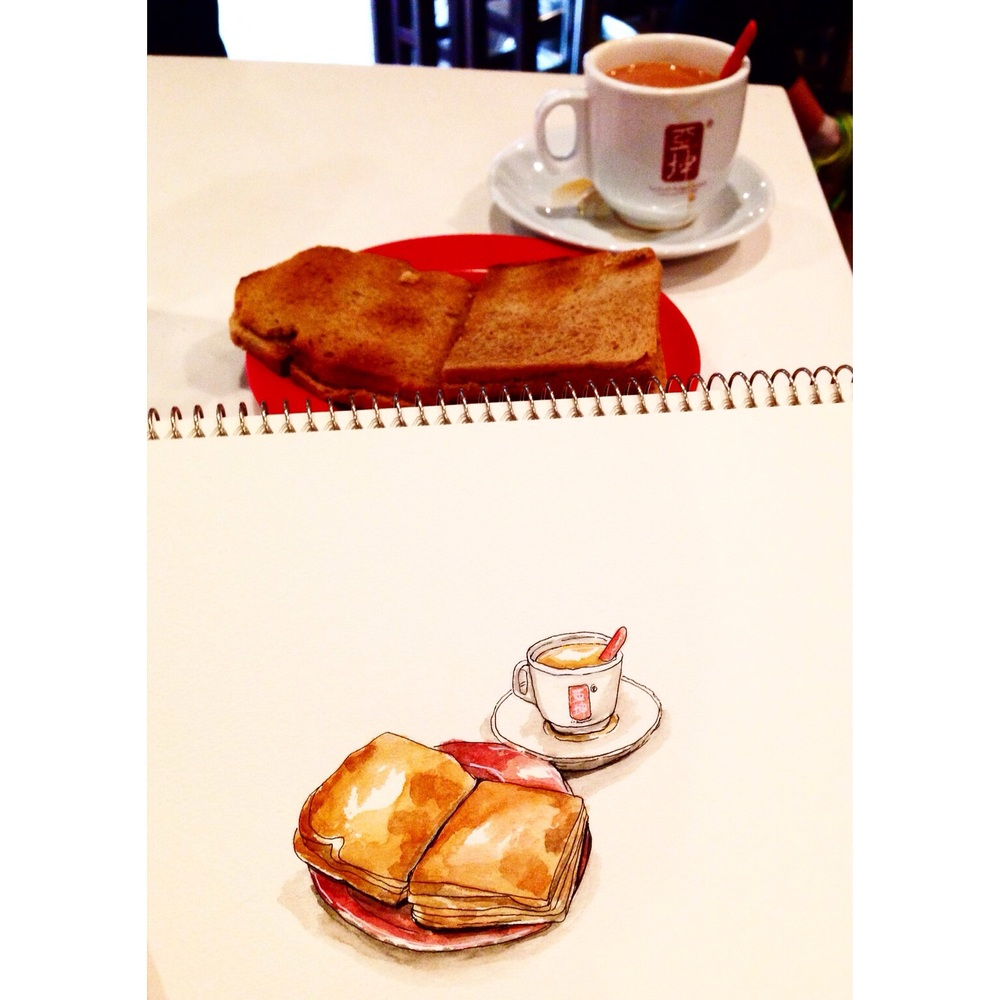 My first sketch of Singapore's iconic Kaya toast and Teh, to start the event.