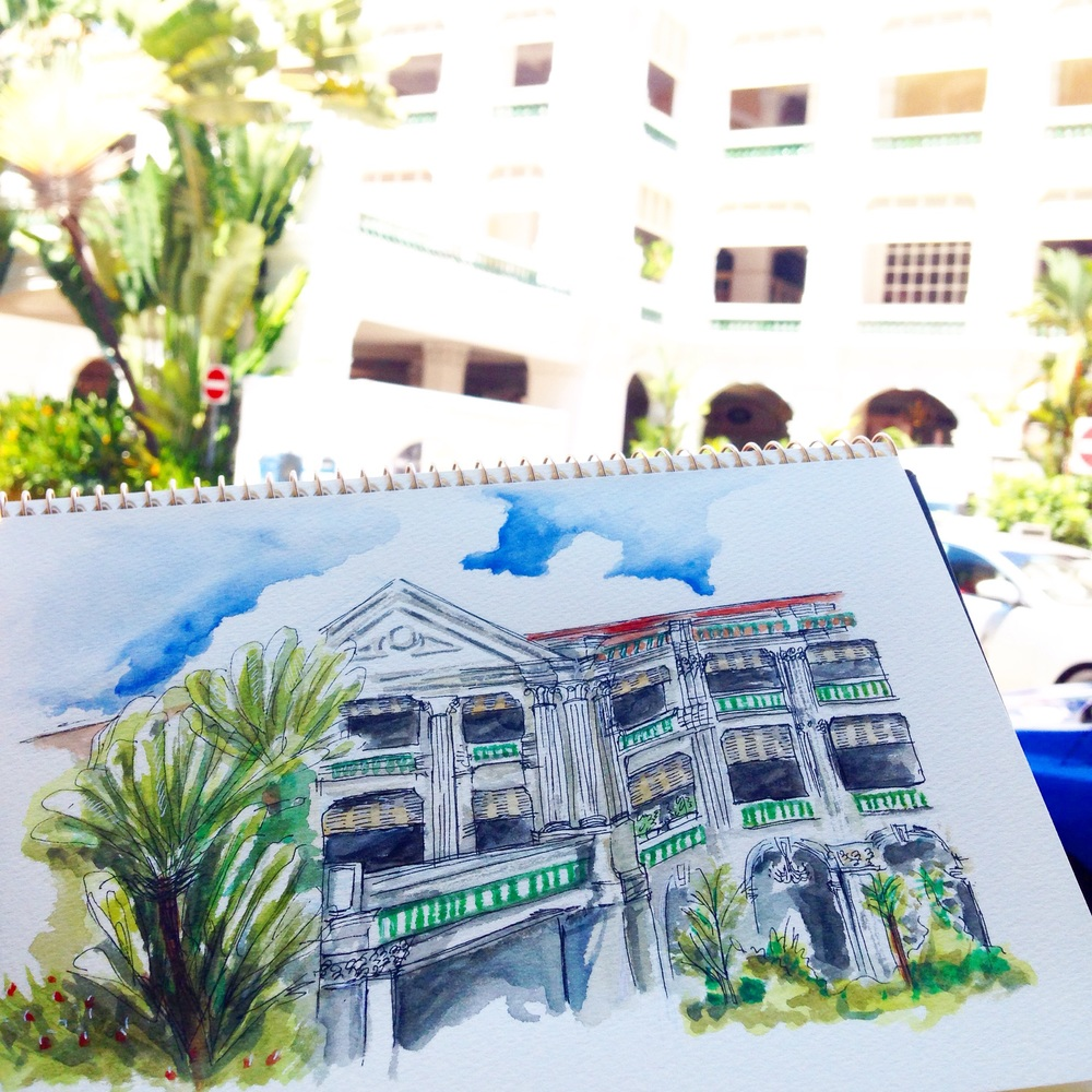 My 1st Sketch walk and probably the most difficult sketch of all of the Raffles Hotel, Singapore.