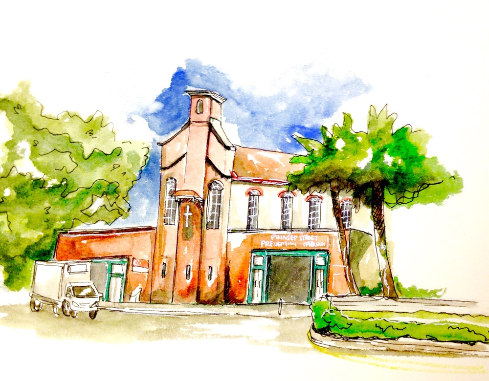 2nd Sketch Walk was at Prinsep Street and this red church caught my brushes!