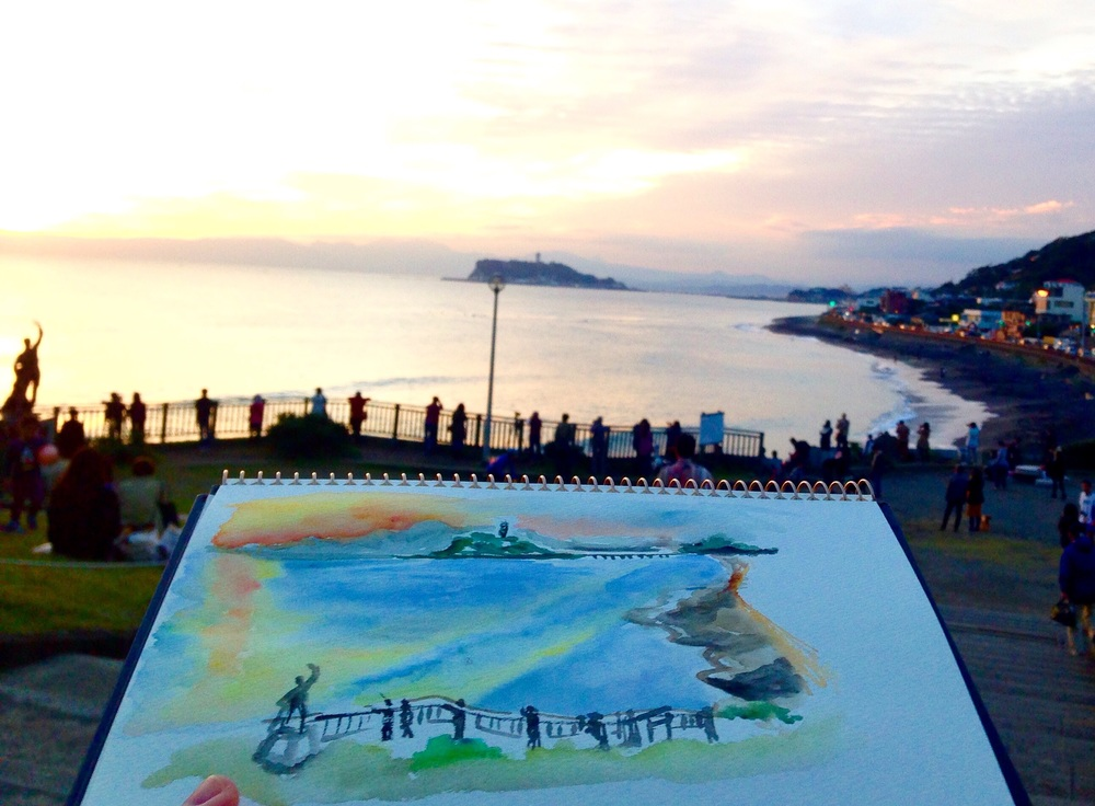 Catching the sunset on paper before it is gone! It was too cloudy to see Mount Fuji at the back.