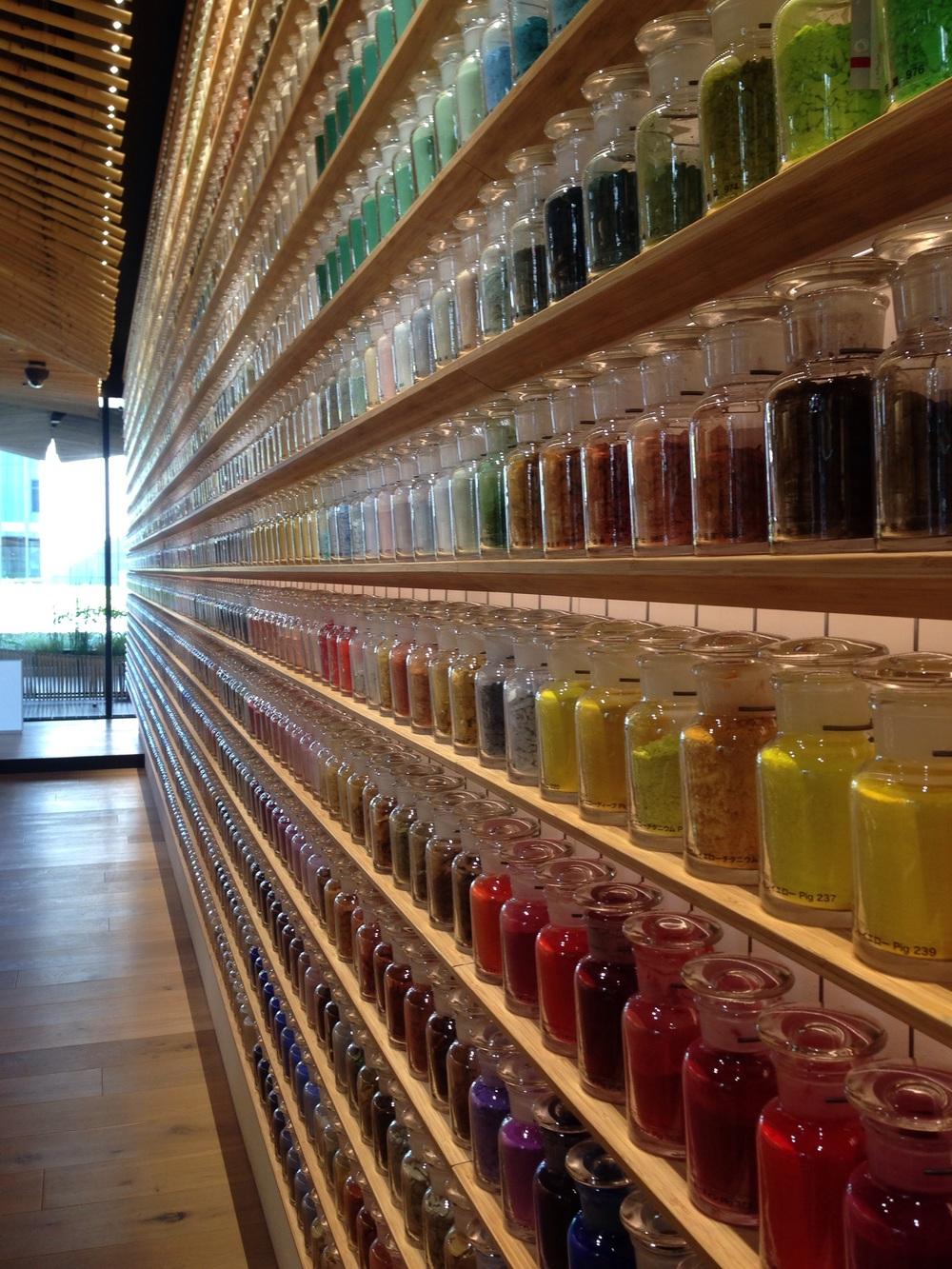 Walls of jars of pigments!