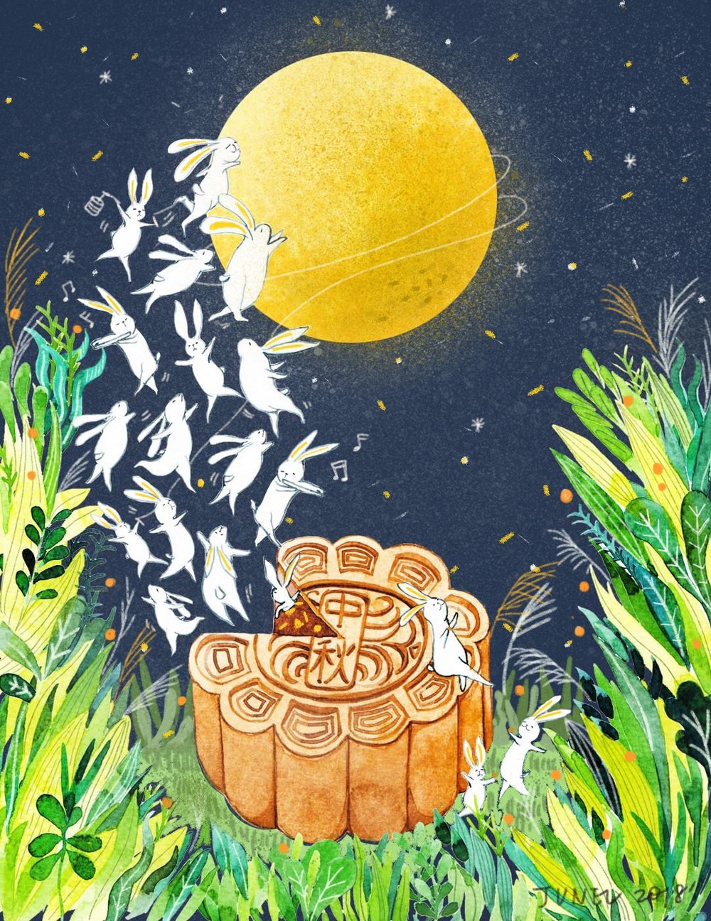 Mid Autumn Festival Celebratory Art Piece - via Prints & Pattern