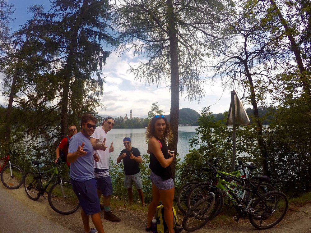 Biking around Lake Bled