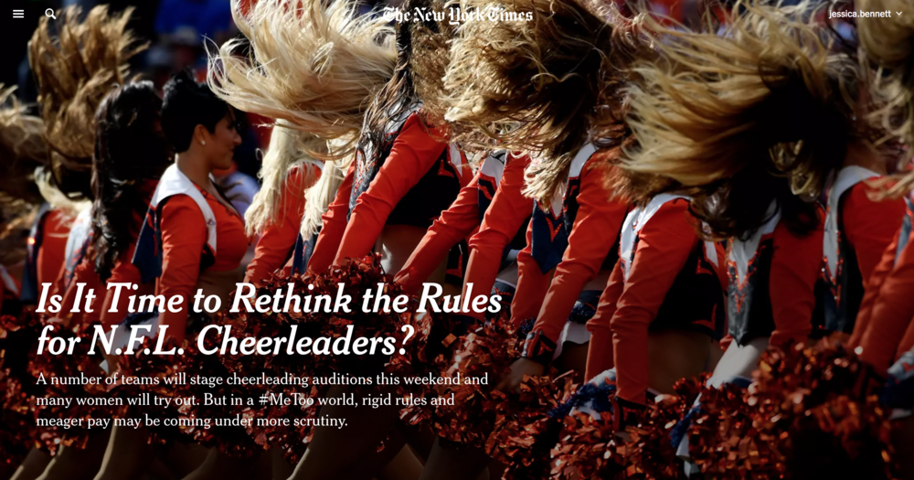 F  or NFL Cheerleaders, Spirit With a Side of Sexism   The New York Times April 2018