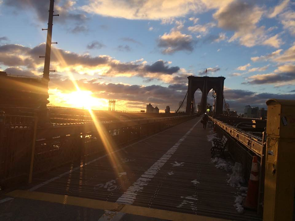 Sunrise on Brooklyn Bridge in Winter - iphone photo by Becky Yee